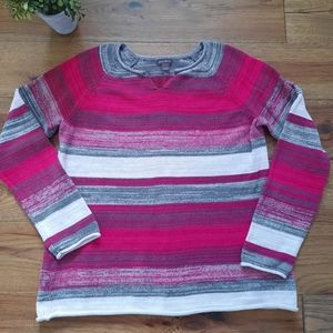 Eddie Bauer Knit Striped Casual Sweater Sz Large